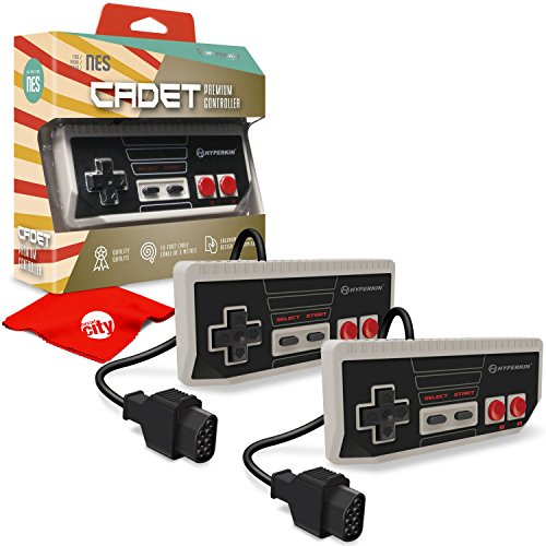 um Controller for NES Consoles, 10' Cable Length, Gray 2-Pack with Circuit City Microfiber Cloth (M07246) ()