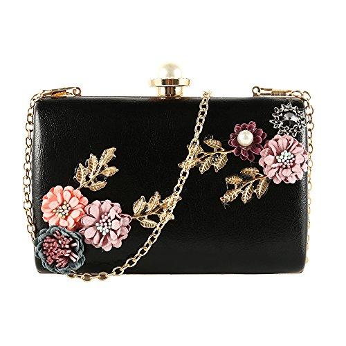 Women Clutches Handbag Flower Leather Pearl Envelope Satin Handwork Evening Party Wedding Bag Black