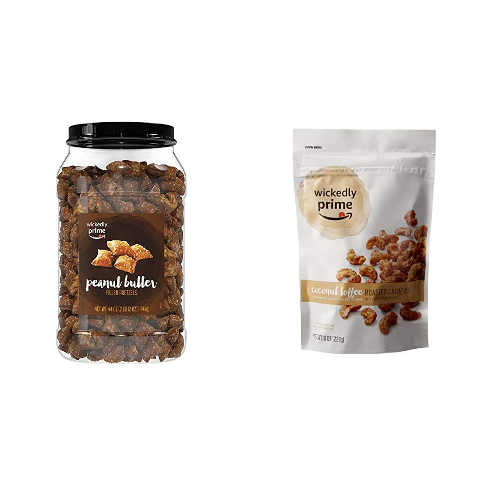 Wickedly Prime Peanut Butter-Filled Pretzels, 44 Ounce & Roasted Cashews, Coconut Toffee, 8 Ounce