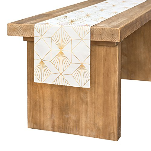 Ling's moment 12 x 72 Inch White Cotton Table Runner Gold Foil Diamond Pattern for Art Deco Wedding, Bridal Shower, Bachelorette Party Decorations ()