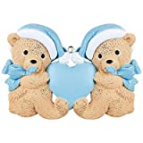 Personalized Twins Bears Baby's First Christmas Ornament for Tree 2018 - Same Born Teddy with Pacifiers Glitter Hat Ribbon Hold Heart - 1st Boy Miracle New Mom Grandkids - Free Customization (Blue)