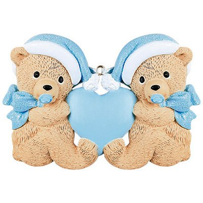 Boy Teddy Bear Ornament - Personalized Twins Bears Baby's First Christmas Tree Ornament 2019 - Same Born Teddy Pacifier Glitter Hat Ribbon Hold Heart 1st Boy Miracle New Mom Grandkid - Free Customization (Blue)