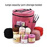 Yarn Storage Round Tote Bag, 28cmx32cm Knitting Crochet Yarn Holder with Pockets Canvas Storage Organizer (Red)