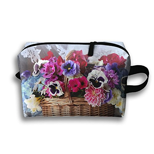Basket Colorful Flowers Travel Bag Cosmetic Bags Brush Pouch Portable Makeup Bag Zipper Wallet Hangbag Pen Organizer Carry Case Wristlet Holder