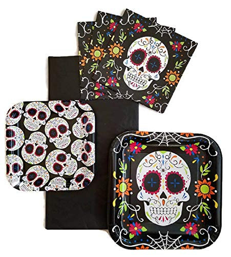 (Halloween Day of The Dead Sugar Skull Party Supplies Paper Plates, Napkins and Tablecloth Bundle of 4 - Service for)