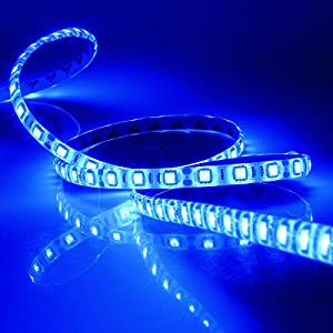 SUPERNIGHT (TM) 16.4FT 5M SMD 5050 Waterproof 300LEDs Blue LED Flash Strip Light ,LED Flexible Ribbon Lighting Strip,12V 60W