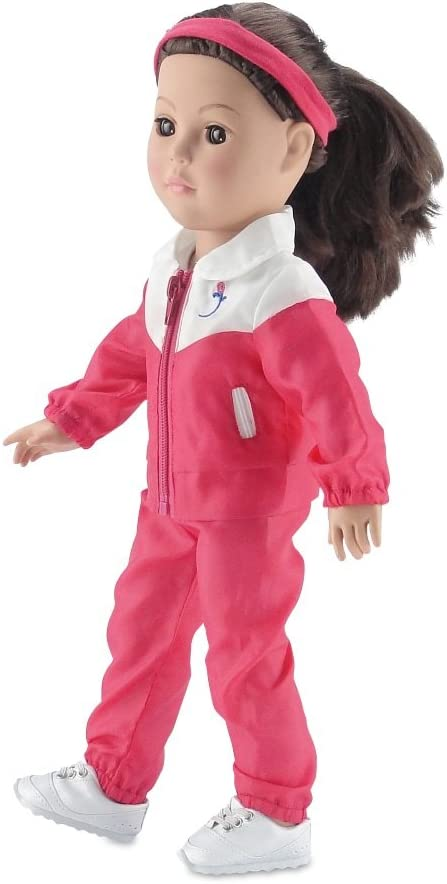 Emily Rose 18 Inch Doll Clothes 5-Piece Running// Sports// Warmup Outfit T-Shirt Fits American Girl Dolls Stretch Headband and Running Shoes Including Pink Jacket and Matching Pants