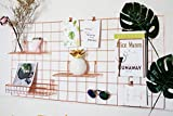 Wire Grid Panel,Rose Gold Grid Photo Wall,Wall Mounted Metal Panel for Photo Display,Decoractive Shelf Rack for Home Decor Storage,Memo Display and Hanging Organizer,Size:17.7'x37.4'
