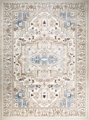 - ADGO Hudson Collection Traditional Heriz Vintage Bedroom Area Rug, Living Dining Room Blue Ivory, 5' x 7'