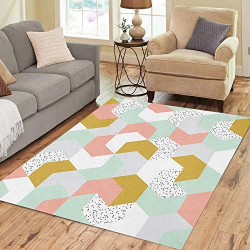 Pinbeam Area Rug Green Cute Colorful Arrow Endless of Geometric Shapes Home Decor Floor Rug 5' x 7' Carpet