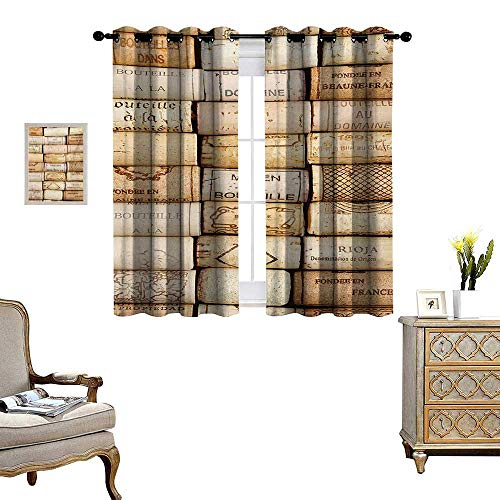 Winery Waterproof Window Curtain Different Wine Corks Arranged in a Line Collections French Aged Fine Wine Art Blackout Draperies for Bedroom W55 x L45 Ivory Pale Brown