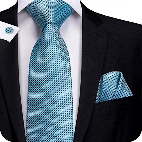 (Hi-Tie Silk Neckties Plaid Check Jacquard Tie Pocket Square Cufflinks Set Gift Box (Little Blue)