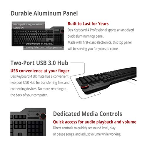 Das Keyboard 4 Ultimate Mechanical Keyboard with Blank Keycaps for an Unmatched Typing Experience- High Performance Clicky Tactile Feedback - Cherry MX Blue Switches - Oversized Volume Knob - Two Port USB 3.0 - Full NKRO