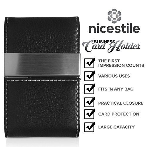 NICESTILE Business Card Holder, PU Leather Stainless Steel Name Card Case Holder with Magnetic Shut Double Sided Open (Black) by NICESTILE (Image #4)