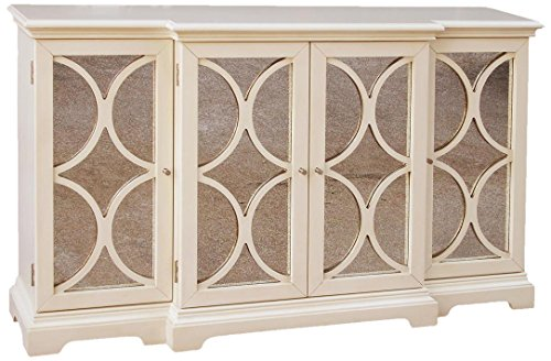 Pulaski Quinten Credenza, 60 by 14 by 37-Inch, White/Metallic - This design was inspired by one of the world's great beauties; it is cool, feminine and dreamy This breakfront credenza features a creamy finish, antiqued mirror panels and geometric grillwork The credenza includes four doors with three adjustable shelves within - sideboards-buffets, kitchen-dining-room-furniture, kitchen-dining-room - 514pEFavq8L -