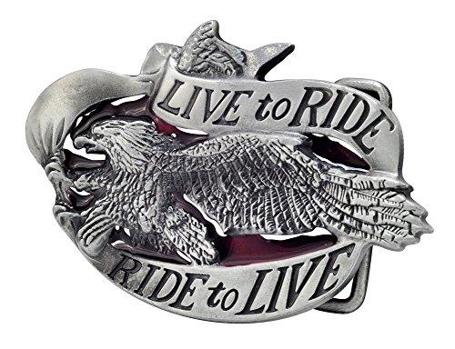 Buckle Rage Unisex Live To Ride Motorcycle Biker Eagle Belt Buckle Silver - Buckle Biker