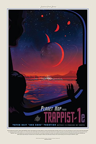 Planet Hop From Trappist 1e - NASA Jpl Space Tourism Travel Poster Unframed -