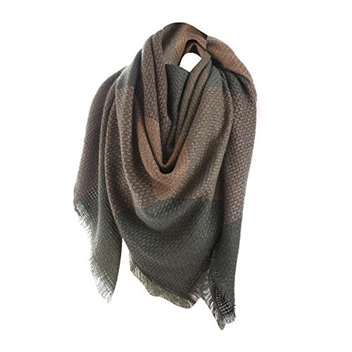 Sttech1 Plaid Scarf for Women, Colorful Stitch Long Cashmere Wool Shawl Plaid Neck Scarf - Gauze Cashmere
