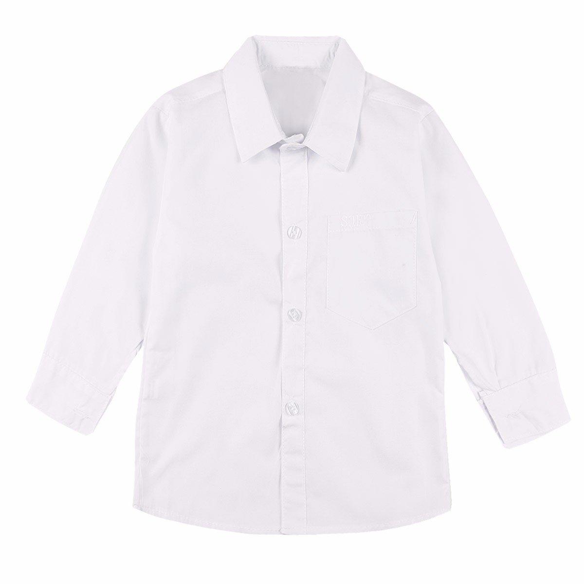 YiZYiF Bébé Enfant Garçons Chemise Blanche à Manches Longues Chemise A Col Rond De Mariage Baptême 2-15 Ans