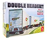 AMT Double Header Tandem Van Trailers - 1/25 Scale Model Trailer Kit - 2 Buildable Haulers for Kids and Adults