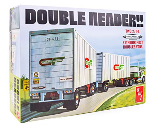 AMT Double Header Tandem Van Trailers - 1/25 Scale Model Trailer Kit - 2 Buildable Haulers for Kids and Adults from AMT