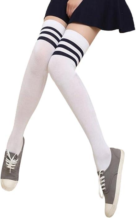 094b6955be6 Chaussettes Montantes en Coton Femme Mode Chaussettes Hautes Motif de Rayé  Dancesocks Cheerleading Chaussettes Uniformes Sport Chaussettes de Football  ...