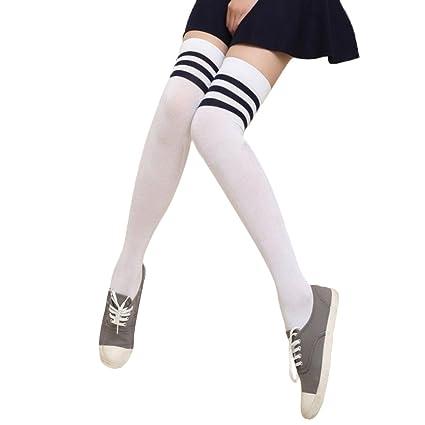 Chytaii Calcetines Largos Medias de Invierno Estilo Deporte para Mujer Calcetines hasta la Rodilla con Raya