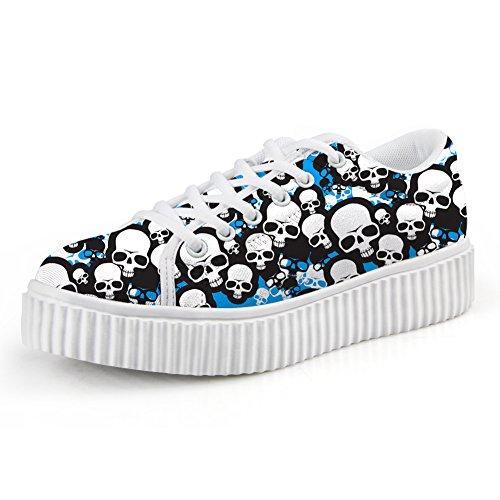 HUGSIDEA Skeleton Bone Skull Round Toe Sneakers Punk Steet Skate Shoe Casual Women Shoes US9