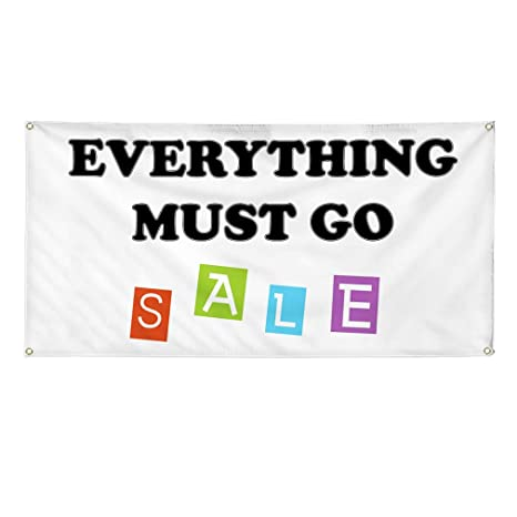 One Banner 44inx110in 8 Grommets Multiple Sizes Available Vinyl Banner Sign Everything Must Go Sale #1 Style B Marketing Advertising White