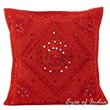 EYES OF INDIA - 16'' Red Mirror Embroidered Decorative Sofa Throw Pillow Cushion Cover Bohemian Boho Indian