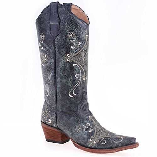 Corral Womens Scroll Ricamo Western Boots Nero Crackle, Verde
