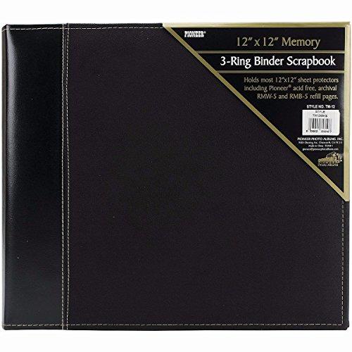 Pioneer 12 Inch by 12 Inch 3-Ring Faux Suede Cover Scrapbook Binder, Black (Memories Binder)