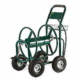 ALEKO GHRC400 Heavy Duty Hose Reel Cart Industrial 4 Wheel 400 Foot Hose Capacity Outdoor Yard Garden Landscape Green