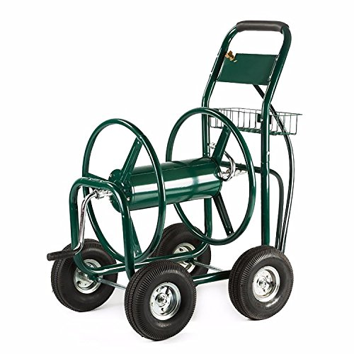 ALEKO GHRC400 Heavy Duty Hose Reel Cart Industrial 4 Wheel 400 Foot Hose Capacity Outdoor Yard Garden Landscape Hose Cart, Green by ALEKO