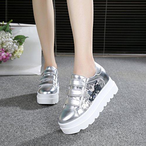 GTVERNH Zapatillas de Mujer/Verano/Fondo grueso Alto Interior Mujer Hebilla Zapatos Deportivos Zapatos de Red Transpirable Zapatos Hollowed Out Board Zapatos silvery