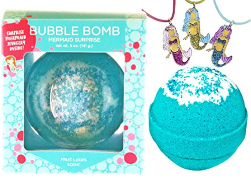 Mermaid BUBBLE Bath Bomb with Surprise Necklace Inside for Girls, Best Birthday Gift Idea, Large Scented Spa Fizzy, Fun Color, Lush Scent, Kid Safe, Vegan, Hand-made in USA