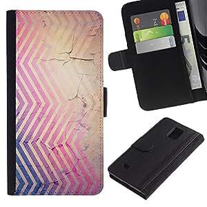 LASTONE PHONE CASE / Lujo Billetera de Cuero Caso del tirón Titular de la tarjeta Flip Carcasa Funda para Samsung Galaxy Note 4 SM-N910 / Lines Rustic Peeling Paint Purple