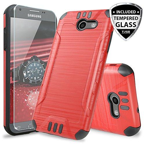 TJS Galaxy J3 Emerge/J3 Prime/Amp Prime 2/Express Prime 2/Sol 2/J3 Mission/J3 Luna Pro/J3 Eclipse Case, with [Tempered Glass Screen Protector] Hard Inner Layer Metallic Brush Finish Case (Red)