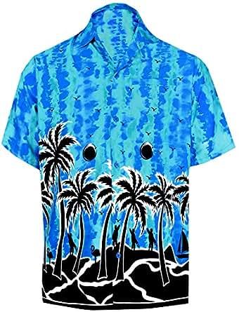 "LEELA Likre Men's Hawaiian Shirt Bright Blue 252 X-Small | Chest 36"" - 38"""
