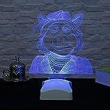 Table Lamp, Women Pig Purple 3D Led Neon Accessory Night Minimalist Solid Metal Table Lamp Bedside Desk Lamp for Bedroom, Dresser, Living Room, Kids Room, College Dorm