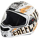 SteelBird SBA-1 Free Live Matt White & Orange Full face Helmet (White:Orange_Large)