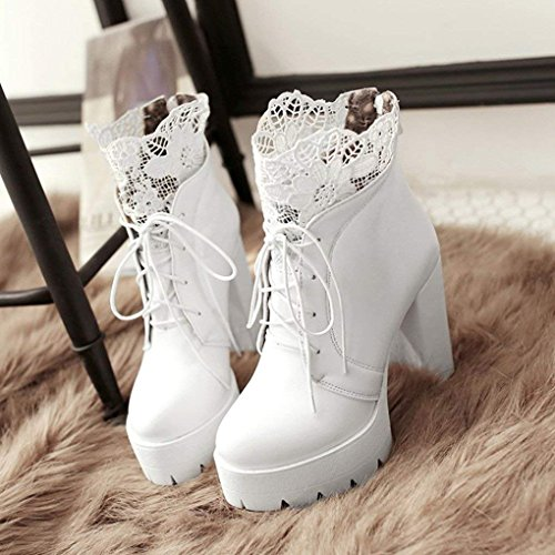 Lace White Vitalo Shoes Platform Booties Ankle up Lace High Boots Womens up Zip Heel Block 6OXH6q