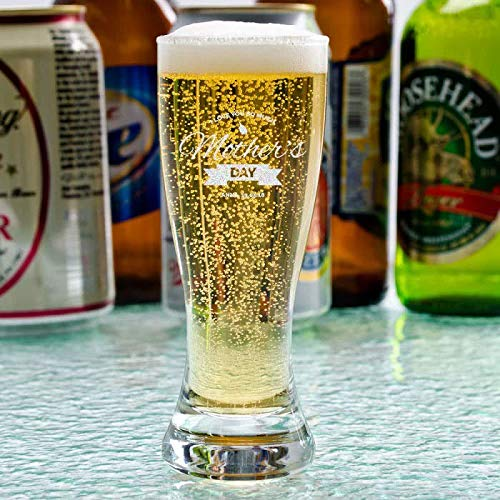Center Gifts Mother's Day Mini Pilsner Beer Glass Personalized | Customized Beer Shooter Pint Glasses 2.5 Oz | Mother's Day Gift for Mom or Wife