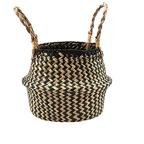 (Girl Basket,AutumnFall Clearance! Flower Basket-Seagrass Wicker Flower Pot Folding Dirty Basket Woven Flowerpot Multi-use Arts and Crafts,Makeup,Stationary,Bath,Gift (Black))