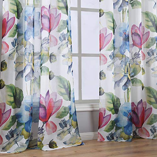 Taisier Home Stylish Living Elegant Abstract Colorful Curtains Printed,Colorful Sheer Curtain Print,Fashion Curtain 95 Inch Lenth for Bedroom(Floral Print Curtain 2 Panels Set)