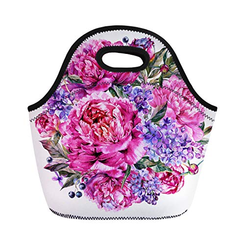(Semtomn Lunch Tote Bag Watercolor Round Bouquet Made of Blooming Fuchsia Peonies Reusable Neoprene Insulated Thermal Outdoor Picnic Lunchbox for Men Women)