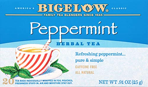 Bigelow Peppermint Herbal Tea 20 Bags (Pack of 6)  Caffeine-Free Individual Herbal Tisane Bags, for Hot Tea or Iced Tea, Drink Plain or Sweetened with Honey or Sugar