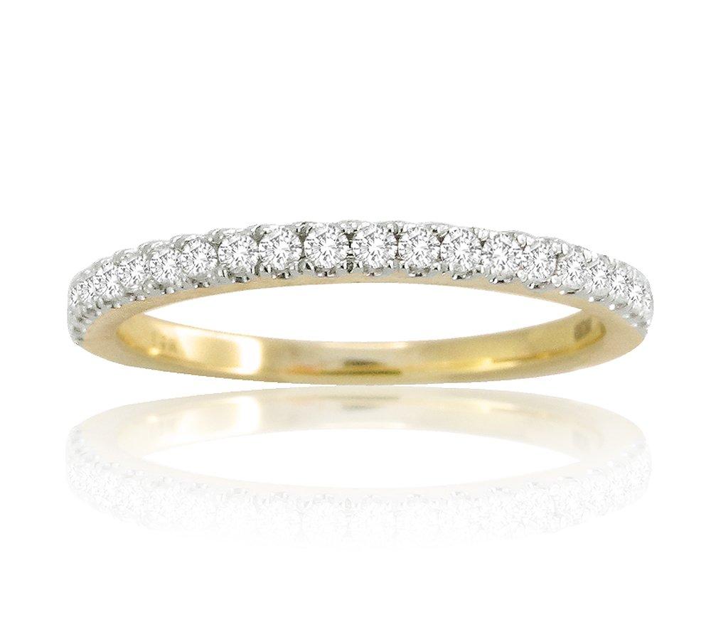14k Solid White Gold 0.25ct Diamond Half Eternity Wedding Band Anniversary Ring (yellow)