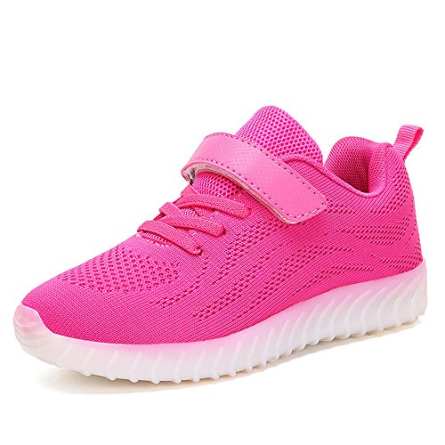 Plan B Kids LED Light Up Shoes Luminous Flashing Sneakers For Boys Girls -(Pink-13 M US Little - Near Me Outlet Premium