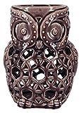 True Grit Fine Ceramic Vintage Style Pillar Decorative Candlestick Holder, Owl, Purple